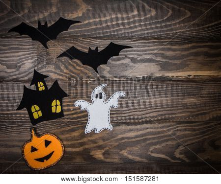 Traditional Halloween Characters Made Of Felt And Velvet Paper On The Wooden Background