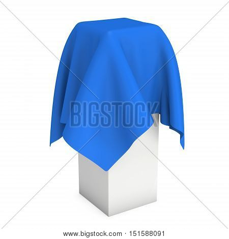 Presentation pedestal covered with blue cloth. Place for award or prize cover by cloth. 3d render illustration isolated on white.