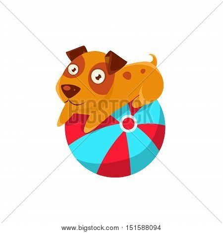 Puppy Balancing On The Inflatable Ball. Dog Everyday Activity Childish Drawing Isolated On White Background. Funny Animal Colorful Vector Sticker.