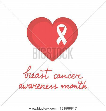 Breast cancer awareness month card with a heart and pink ribbon