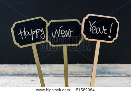 Motivational Message Happy New Year Written With Chalk