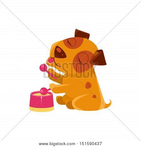 Puppy Playing Drums And Singing. Dog Everyday Activity Childish Drawing Isolated On White Background. Funny Animal Colorful Vector Sticker.