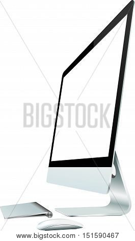 vector mock up modern pc on white background, new modern all in one pc.