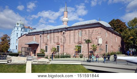 PLOVDIV BULGARIA SEPT 18: Djumaya Mosque or Ulu Mosque, is a precious architectural monument in Plovdiv that gives an idea of the old settlement of Filibe. On sept, 18 2013 in Plovdiv Bulgaria,