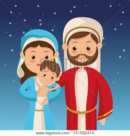holy family with biblical christmas related icons image vector illustration design