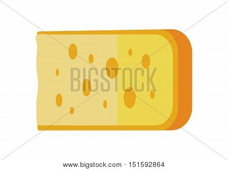 Piece of cheese isolated on white background. Natural farm food. Dairy product. Logo illustration. Retail store element. Yellow cheese icon. Vector illustration in flat style.