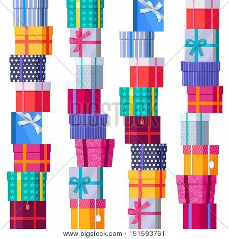 Seamless pattern gift boxes in stacks. Stacks of colorful wrapped gift boxes. Beautiful present box with overwhelming bow. Gift boxes on white background. Gift symbol. Christmas gift box.