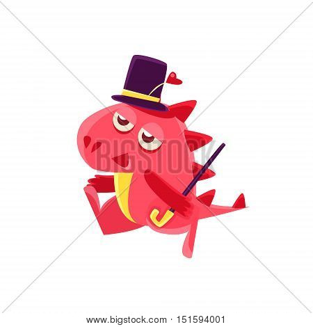 Gentleman Red Dragon Illustration. Silly Childish Drawing Isolated On White Background. Funny Fantastic Animal Colorful Vector Sticker.
