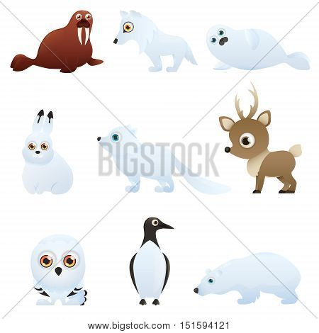 Set Arctic animals isolated on white background. Vector illustration