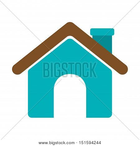 silhouette roof house and chimney vector illustration