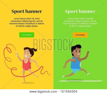 Sport banner. Artistic gymnastics and athletics sport template. Summer games colorful banner. Competitions, achievements. Athletes perform to show best results and win a trophy. Vector illustration