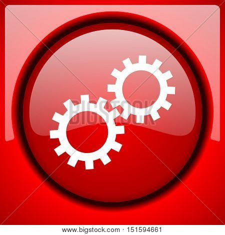 gear red icon plastic glossy button