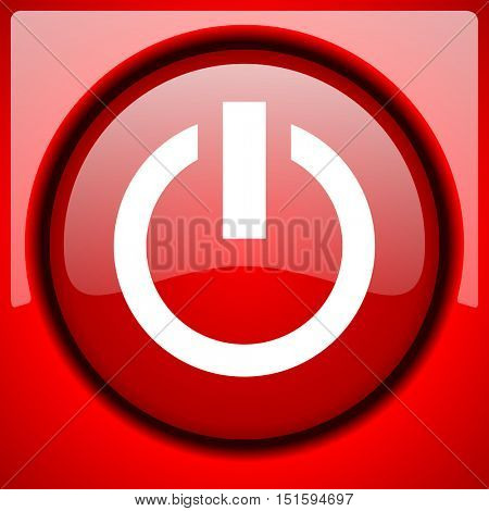 power red icon plastic glossy button
