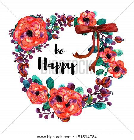 Hand drawn vector frame of watercolor summer flowers. With red bow. Element for design of invitations, logo, banners, greeting card for birthday, mother's day. On white background grouped and isolated
