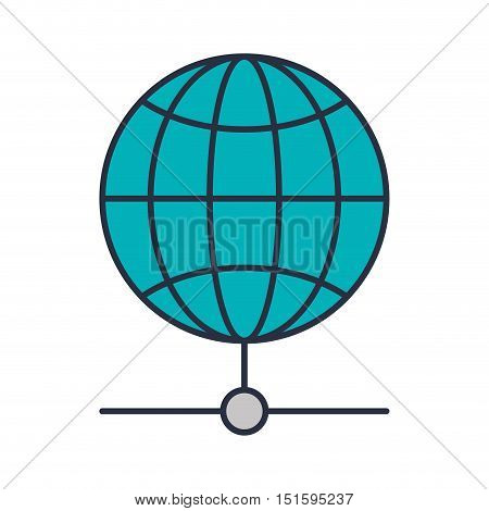 blue sphere with meridians and mesh vector illustration