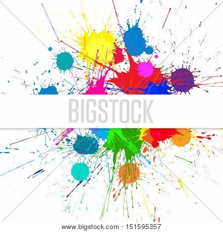 Vector Background With Bright Ink Color Blots. Each element separate on subroups for easy use and recolor