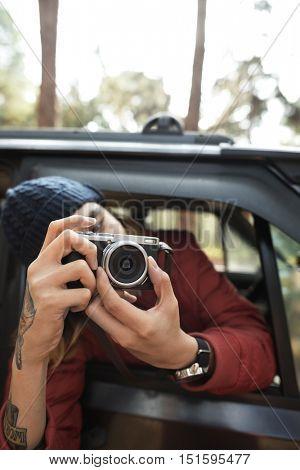 Photographer Camera Man Shooting Car Vehicle Concept