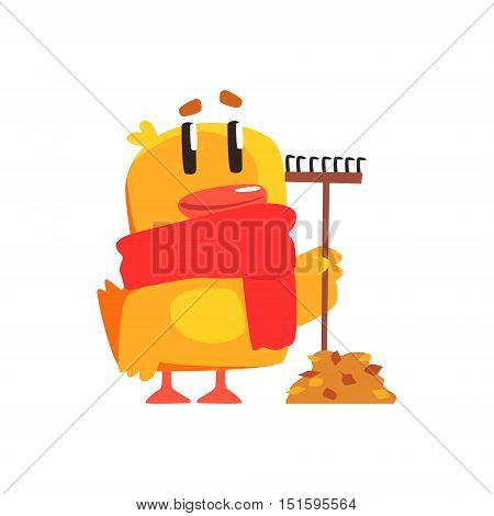 Duckling With Rake And Autumn Leaves Cute Character Sticker. Little Duck In Funny Situation Childish Cartoon Graphic Illustration On White Background.