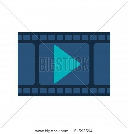 filmstrip with blue play buttom vector illustration