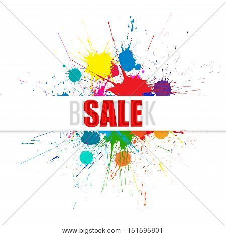 Vector Sale Background With Bright Ink Color Blots. Each element separate on subroups for easy use and recolor