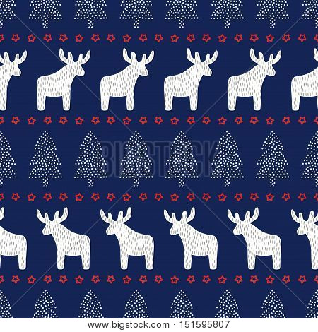 Christmas seamless pattern. Cute Christmas background - Xmas trees, deers and stars. Scandinavian sweater style. Design for textile, wallpaper, web, wrapping paper, fabric, decor etc.