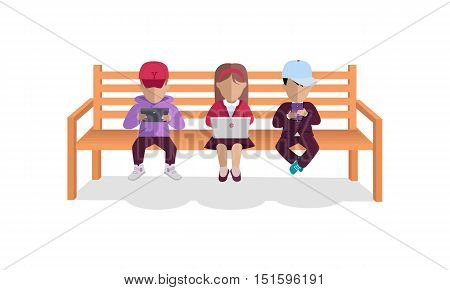 Internet addiction concept vector. Flat design.Children seating on bench with computer and mobile phones in hands. People online communication picture for infographics, web design. Isolated on white.