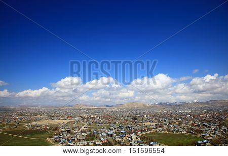 Panoramic View of the Van Turkey. Spring. Cloudy Sky.