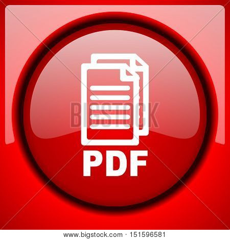 pdf red icon plastic glossy button,