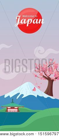 Welcome to Japan. Japan tourism poster design with attractions. Japan natural landscape with mountain, sakura, house, valley. Japan landmark. Japan travel poster design in flat. Travel composition.