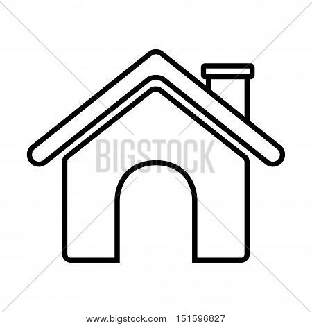 contour roof house and chimney vector illustration