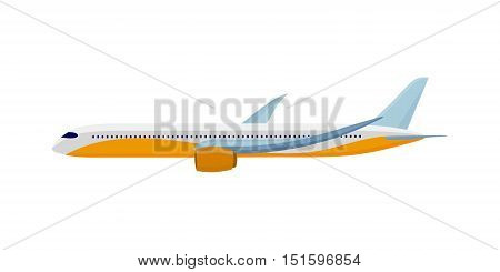 Airplane isolated on white. Air travel concept flying plane. Transportation touristic aircraft. Aviation aircraft in clouds. Part of series of travelling around the world. Journey on airliner. Vector