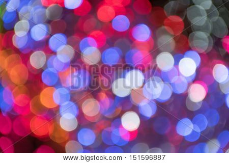 Abstract blurred focus of lights for christmas backgournd.