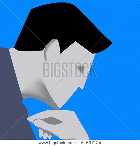 Thinking businessman template. Pensive businessman in business suit isolated on blue background. Vector illustration. Use as template, logo, background or other design.