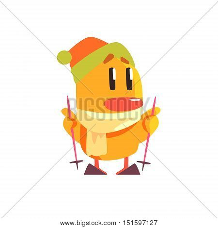 Duckling Skiing Cute Character Sticker. Little Duck In Funny Situation Childish Cartoon Graphic Illustration On White Background.