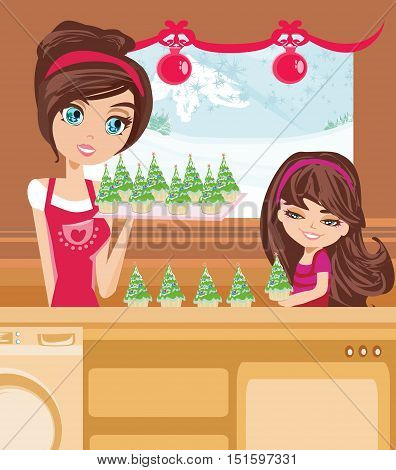 mother and daughter Baking muffins in christmas style , vector illustration