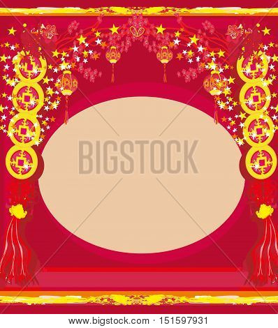 Chinese New Year abstract card , vector illustration