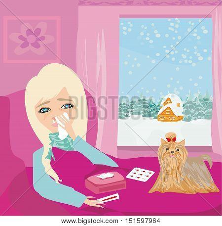 sick girl lying in bed , vector illustration