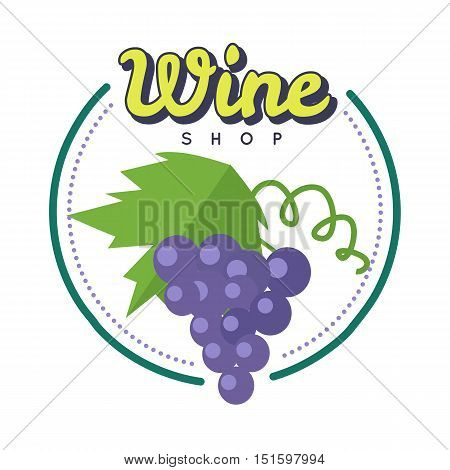 Wine shop poster. For labels, tags, tallies, posters, banners of check elite vintage wines. Logo icon symbol. Winemaking concept. Part of series of viniculture production and preparation items. Vector