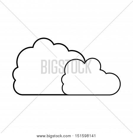 silhouette two cloud in cumulus shape vector illustration