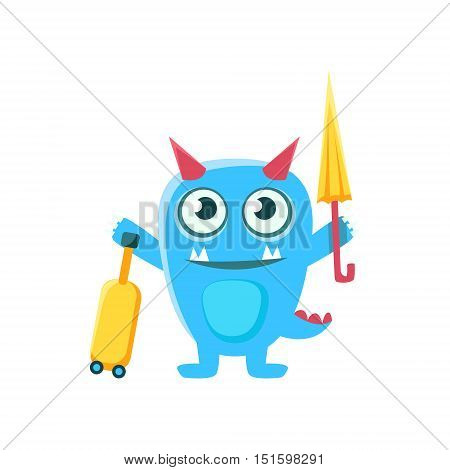 Tourist Blue Monster With Horns And Spiky Tail. Silly Childish Drawing Isolated On White Background. Funny Fantastic Animal Colorful Vector Sticker.