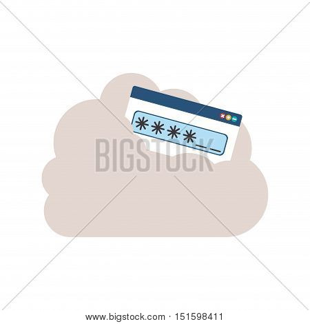 Password text box into the cloud vector illustration