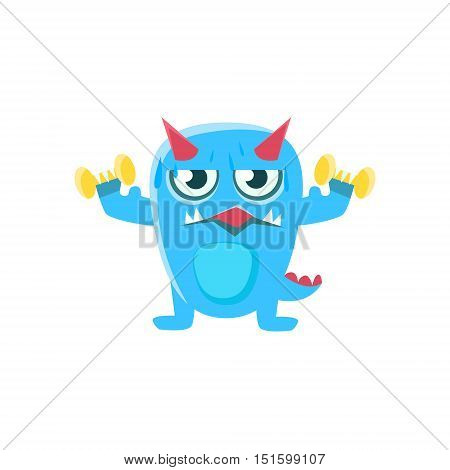 Blue Monster With Horns And Spiky Tail Working Out In Gym. Silly Childish Drawing Isolated On White Background. Funny Fantastic Animal Colorful Vector Sticker.