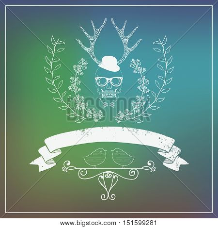 Hipster Style Banner with Blurred Background. Bludder Sky. Decorative Branches, Ribbon, Horns, Gentleman. Vector Illustration