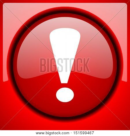 exclamation sign red icon plastic glossy button