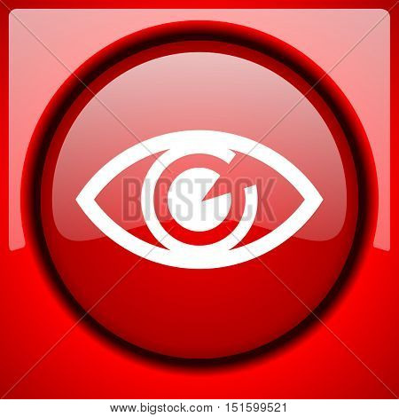 eye red icon plastic glossy button