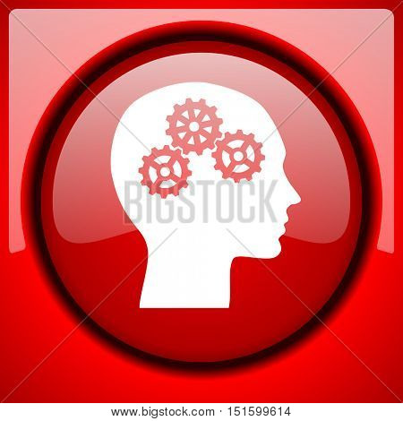 head red icon plastic glossy button