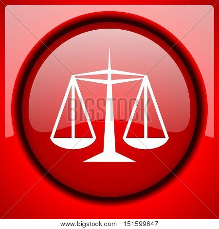 justice red icon plastic glossy button