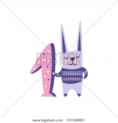 Rabbit Stylized Funky Animal Standing Next To Number One. Weird Colorful Flat Vector Illustration For Kids On White Background,