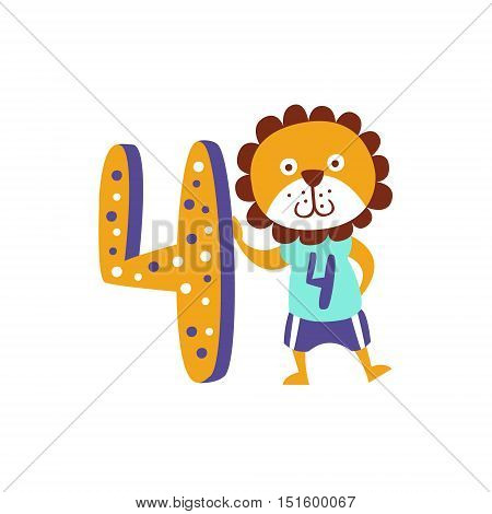 Standing Next To Number Four Stylized Funky Animal. Weird Colorful Flat Vector Illustration For Kids On White Background,