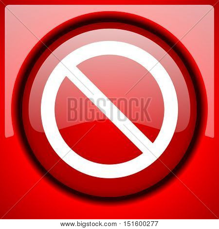 access denied red icon plastic glossy button